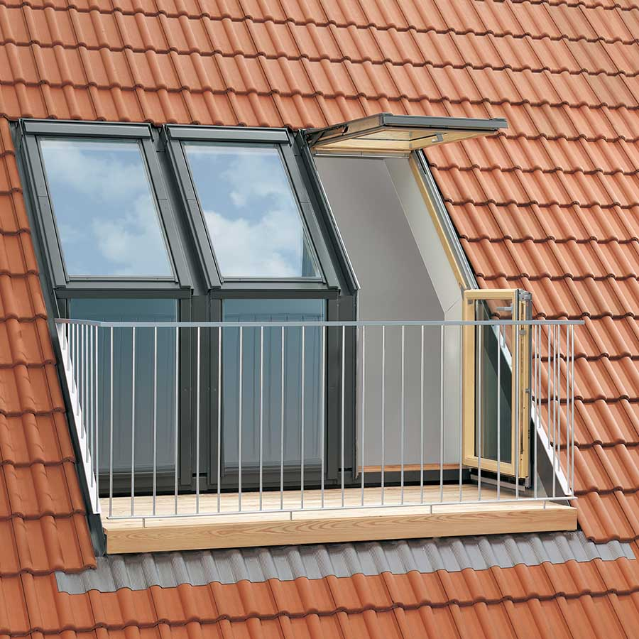 Velux 2380mm x 2450mm triple l h roof terrace with tile for Velux balcone
